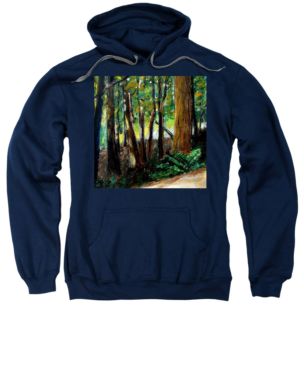 Livingston Trail Sweatshirt featuring the drawing Woodland Trail by Michelle Calkins