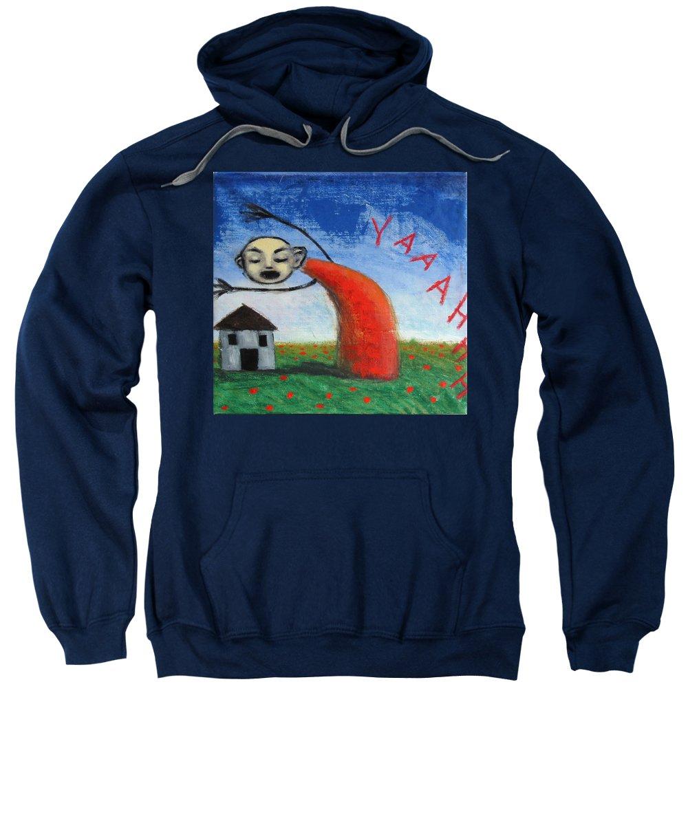 Figure Sweatshirt featuring the painting Yaaahhh by Pauline Lim