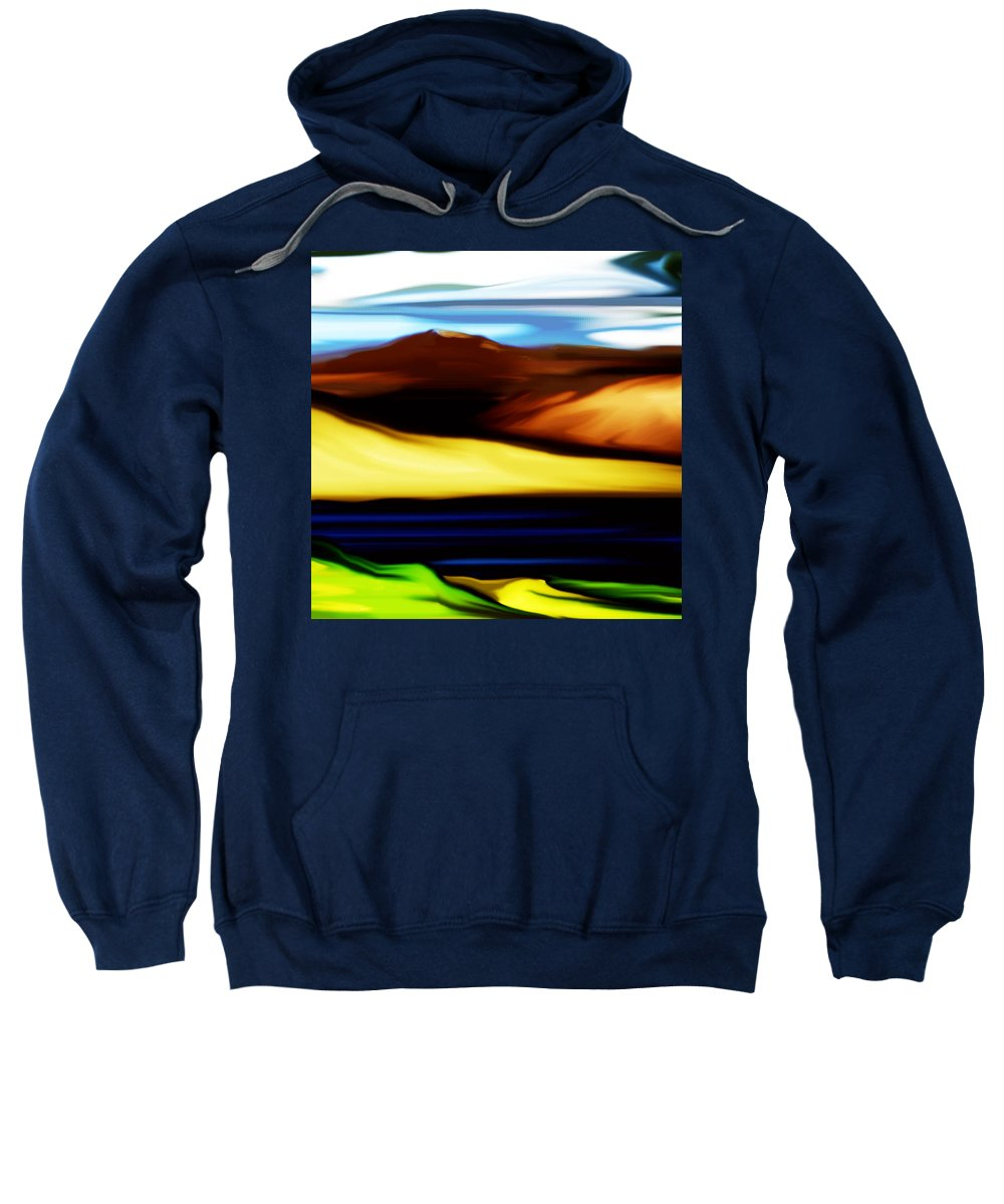 Digital Painting Sweatshirt featuring the digital art Yellow Hills by David Lane