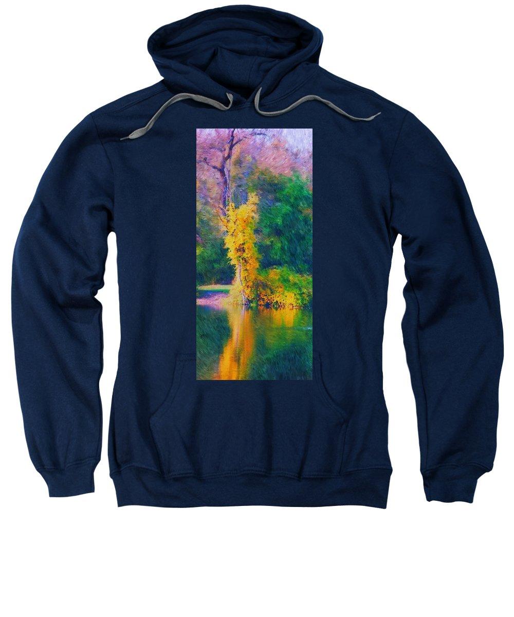 Digital Landscape Sweatshirt featuring the digital art Yellow Reflections by David Lane