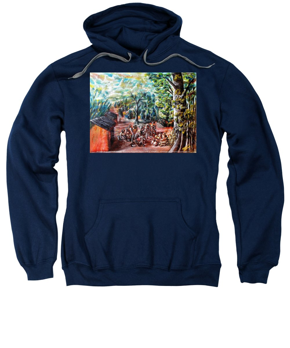 Thanks-giving Sweatshirt featuring the painting Thanks-giving In A Sacred Shrine by Mbonu Emerem