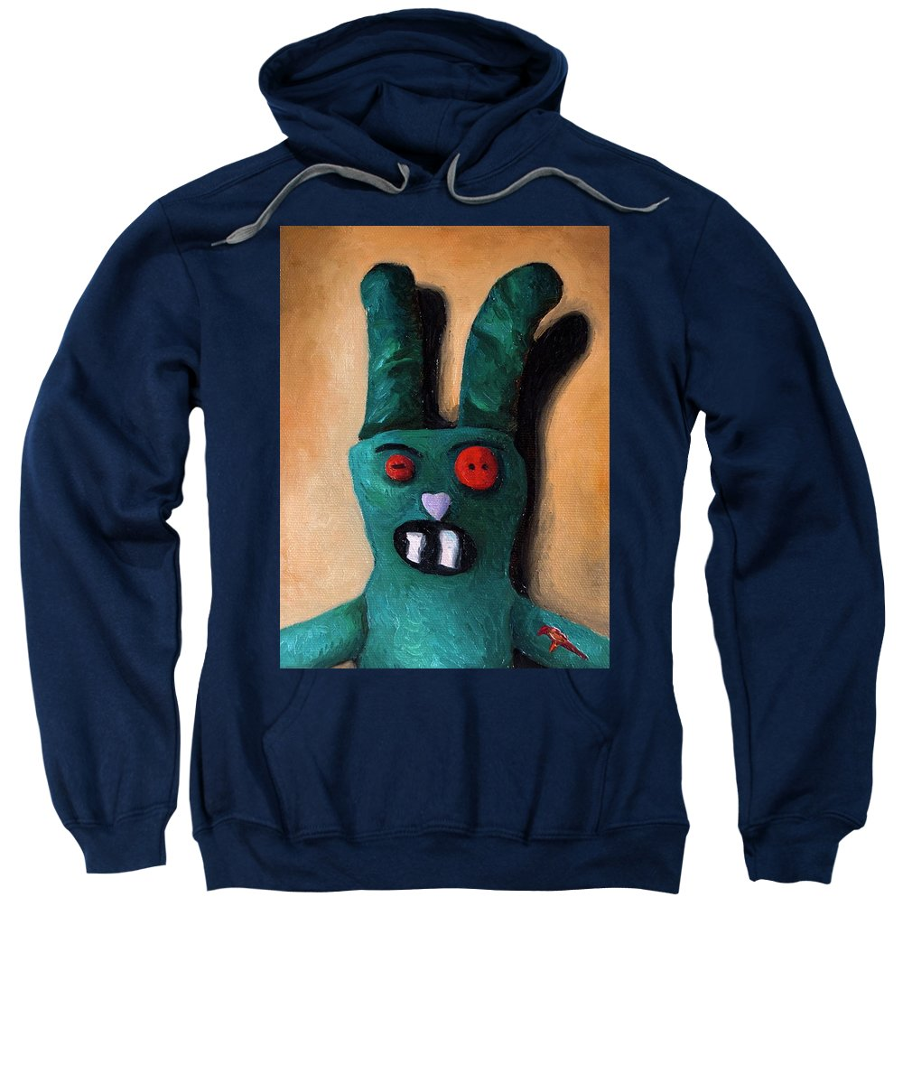 Zombie Sweatshirt featuring the painting Zombie Bunny by Leah Saulnier The Painting Maniac