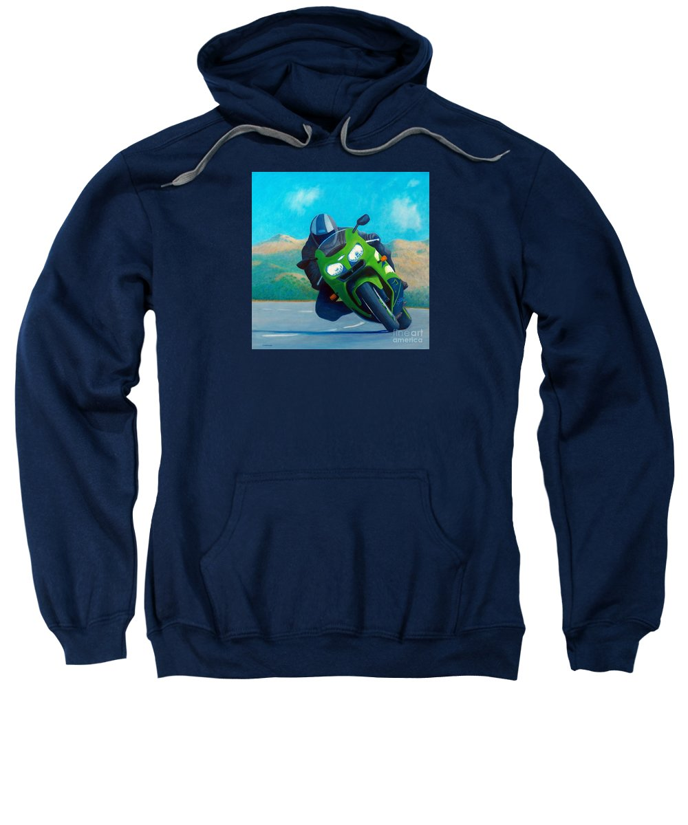 Motorcycle Sweatshirt featuring the painting Zx9 - California Dreaming by Brian Commerford