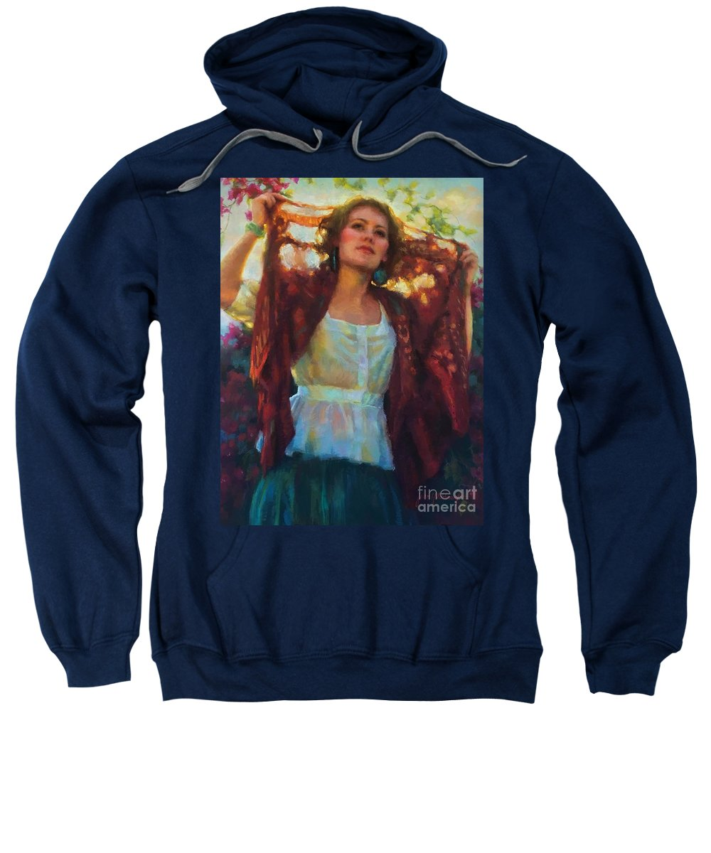 Beautiful Woman Sweatshirt featuring the painting Awaken by Jean Hildebrant