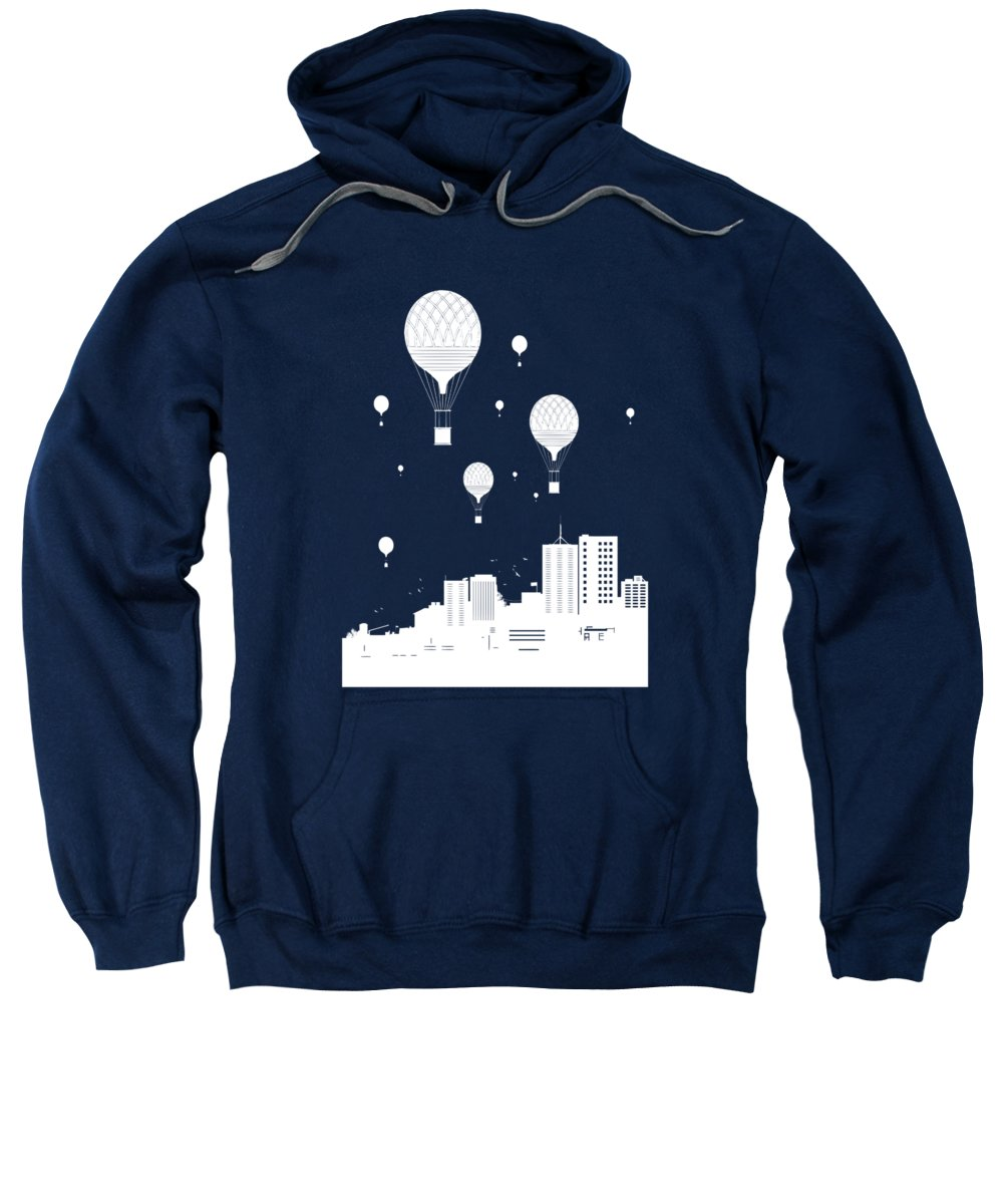 City Sweatshirt featuring the mixed media Balloons And The City by Balazs Solti