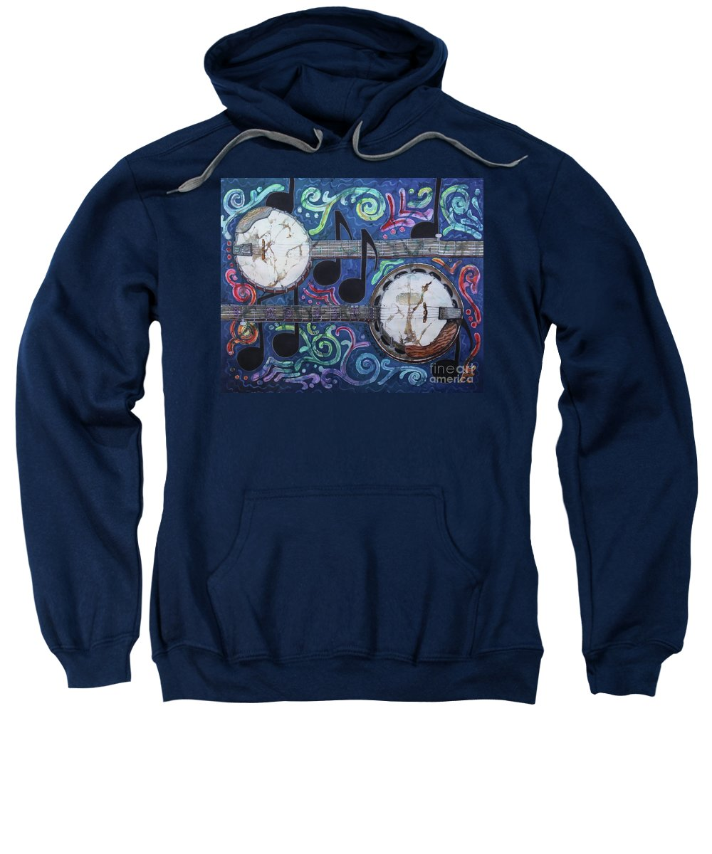 Banjos Sweatshirt featuring the painting Banjos by Sue Duda