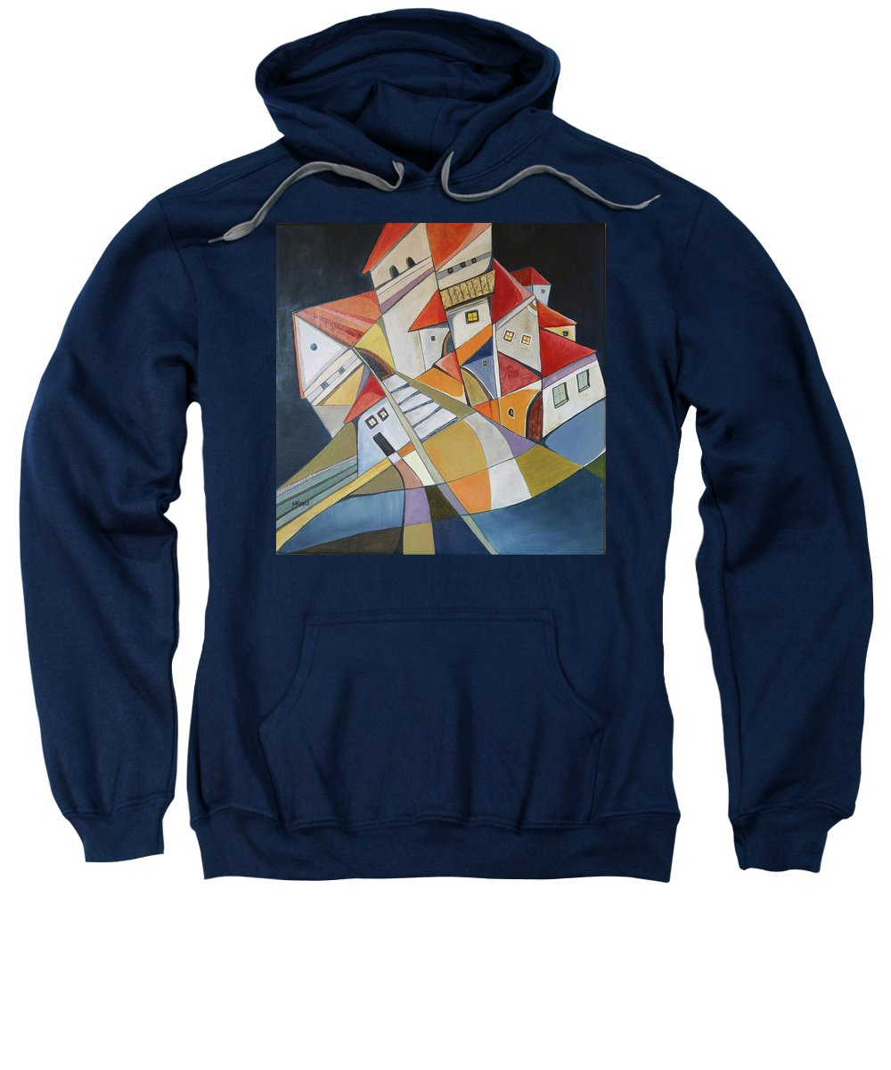 Houses Sweatshirt featuring the painting Close To Midnight by Aniko Hencz
