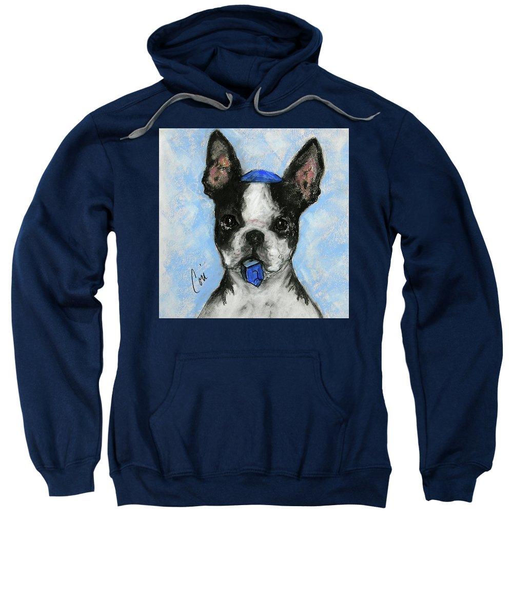 Boston Terrier Sweatshirt featuring the drawing Dreideler by Cori Solomon