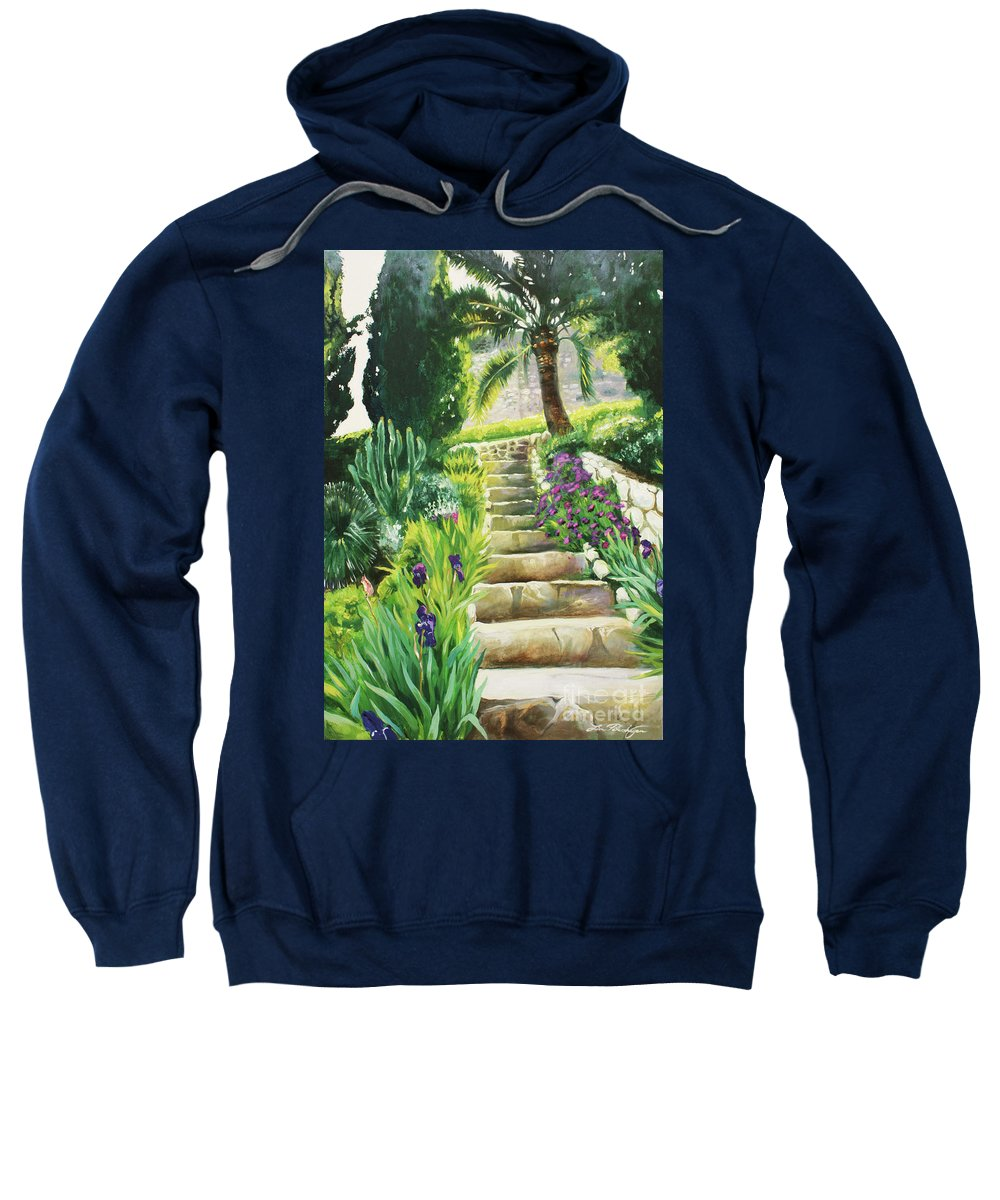 Lin Petershagen Sweatshirt featuring the painting Escaliers A Villefranche by Lin Petershagen