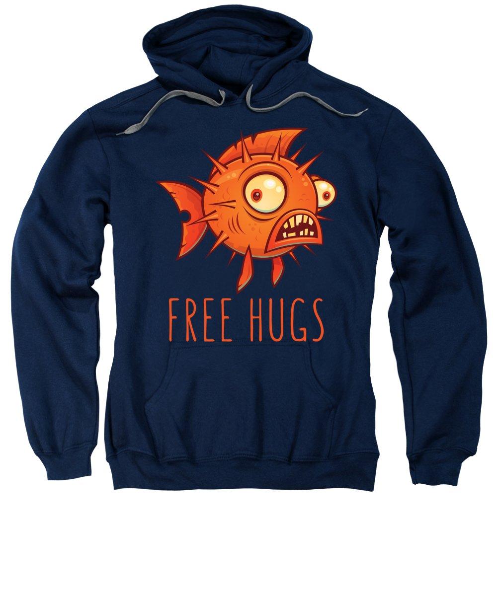 Pufferfish Sweatshirt featuring the digital art Free Hugs Cartoon Blowfish by John Schwegel