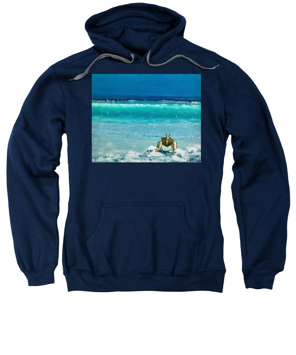 Ghost Crab Sweatshirt featuring the painting Ghost Crab by Paul Emig