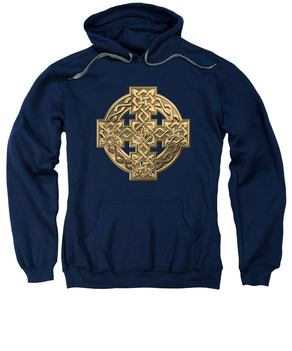 'celtic Treasures' Collection By Serge Averbukh Sweatshirt featuring the digital art Gold Celtic Knot Cross Over Green Leather by Serge Averbukh