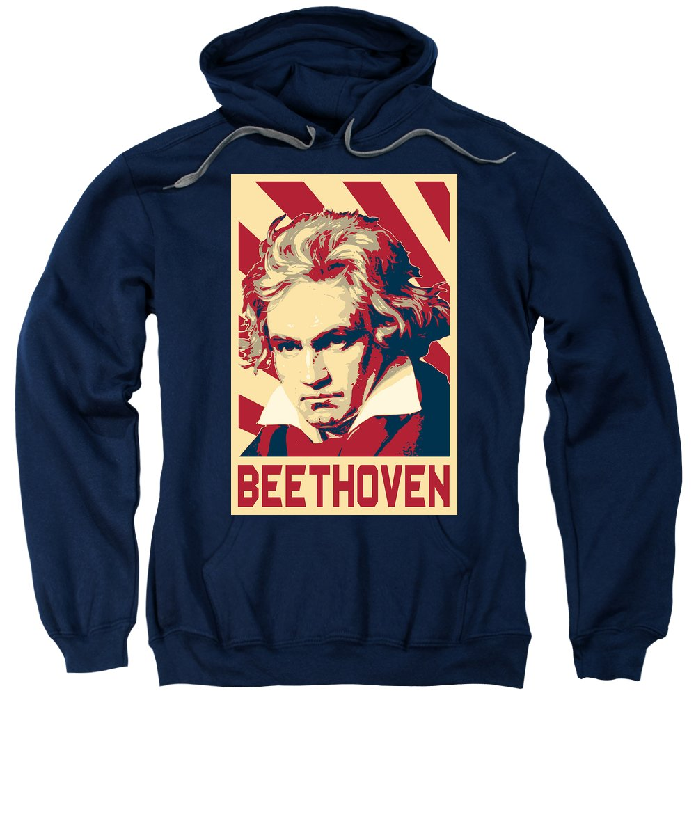 Beethoven Sweatshirt featuring the digital art Ludwig Van Beethoven Retro Propaganda by Filip Schpindel