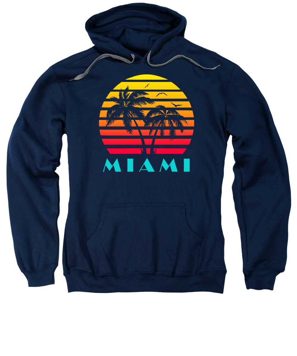 This Cool And Awesome Tee Shirt Features A Classic Vintage Sunset Inspired By Retro Vhs Tapes Of Famous Tv Shows And Movie Posters. Palm Trees And Seagulls In Front Of A Beautiful Tropical Sun That Glows In Yellow Sweatshirt featuring the digital art Miami 80s Tropical Sunset by Filip Schpindel