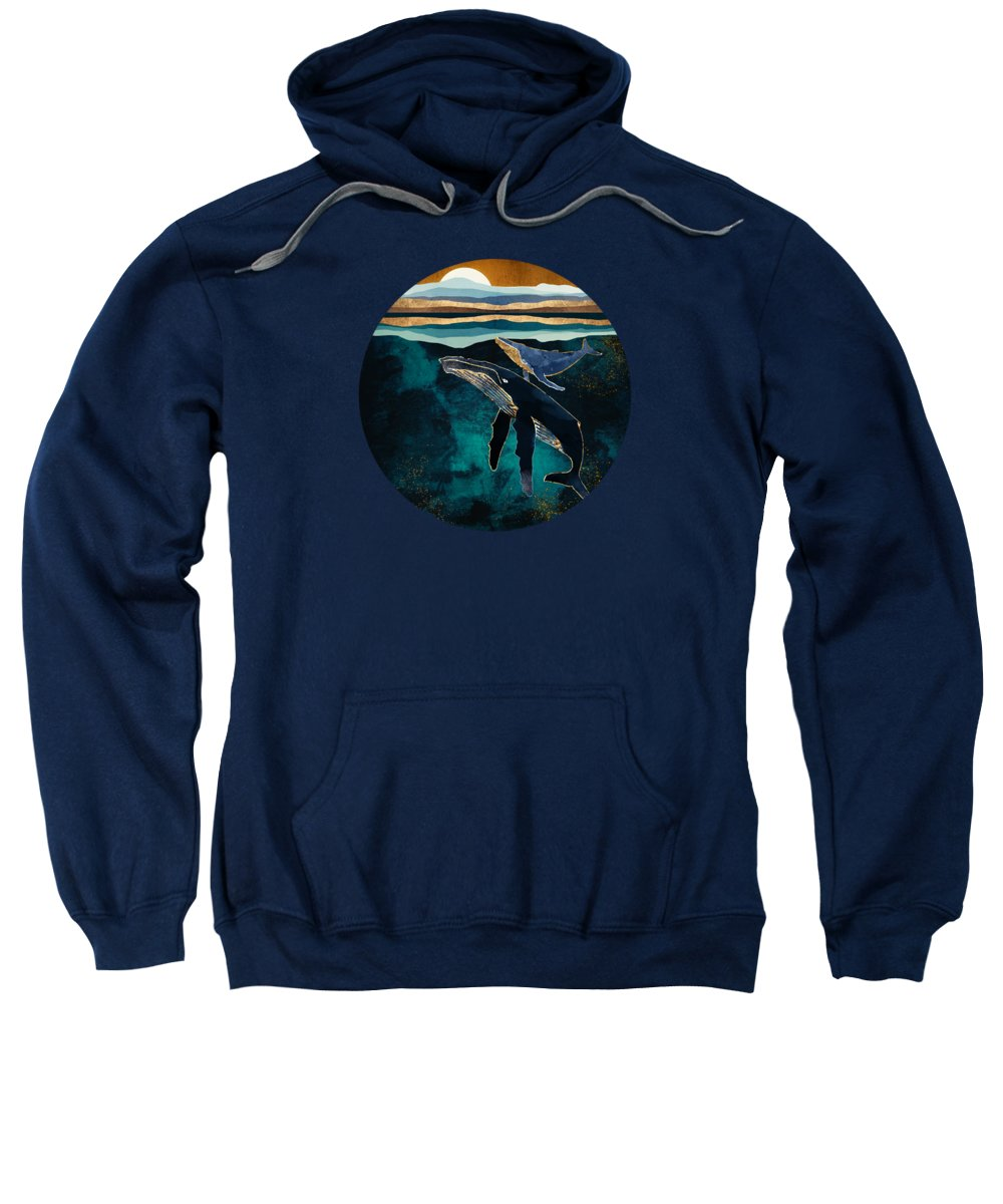 Whales Sweatshirt featuring the digital art Moonlit Whales by Spacefrog Designs