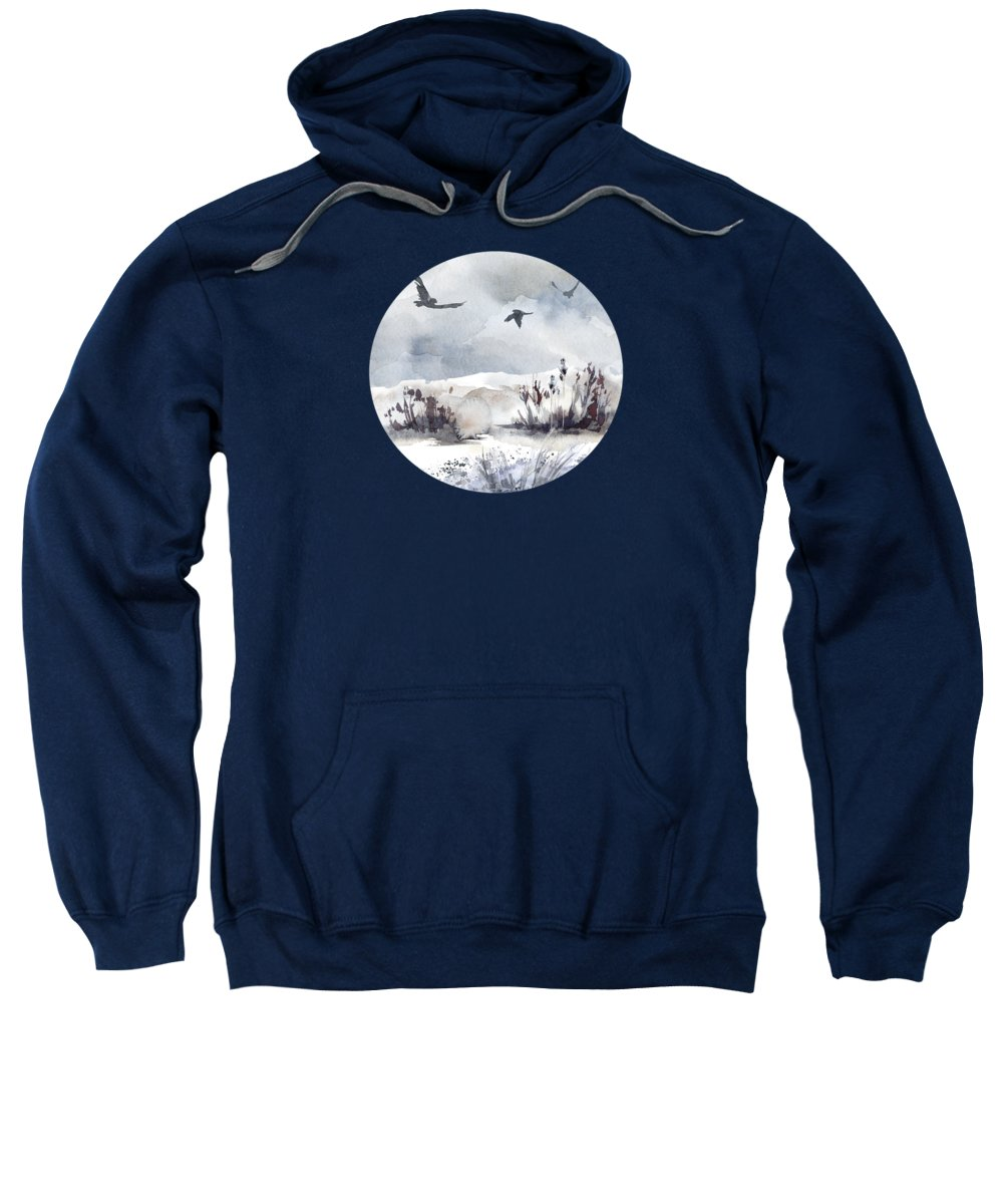 Painting Sweatshirt featuring the painting Soaring Above Sandy Beaches Against Stormy Skies by Little Bunny Sunshine