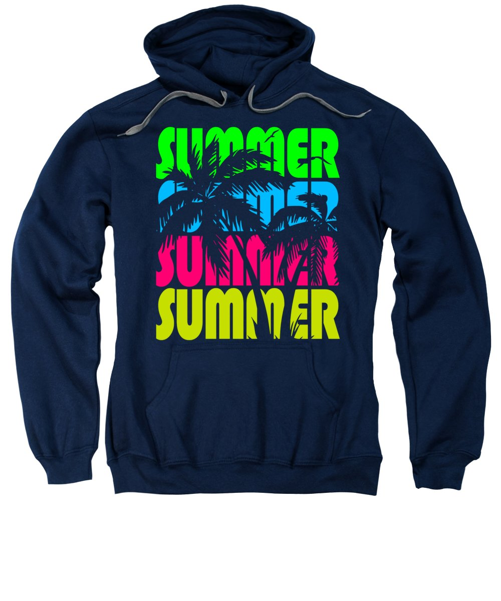 Sunset Sweatshirt featuring the digital art Summer Palm Trees by Filip Schpindel