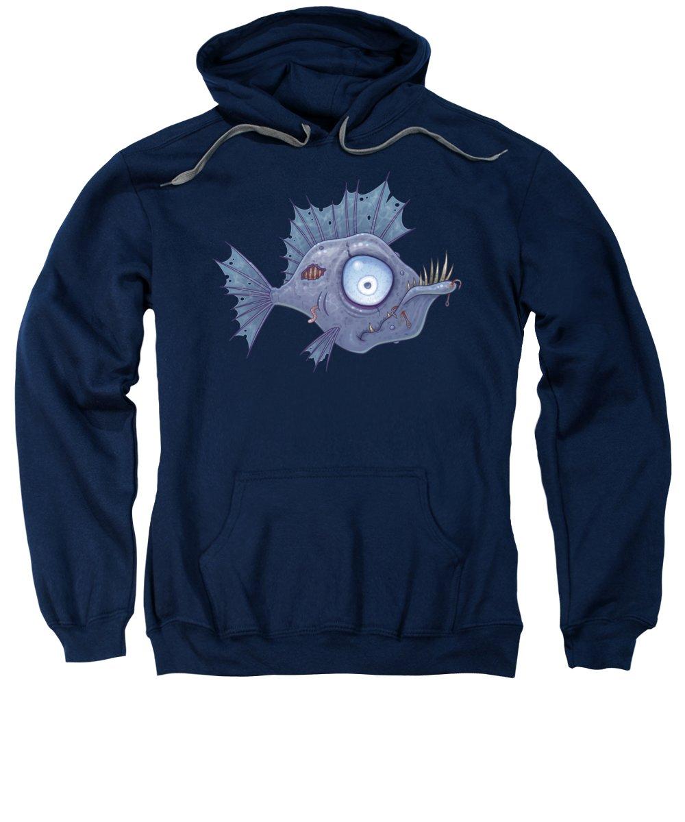 Sea Sweatshirt featuring the digital art Zombie Fish by John Schwegel