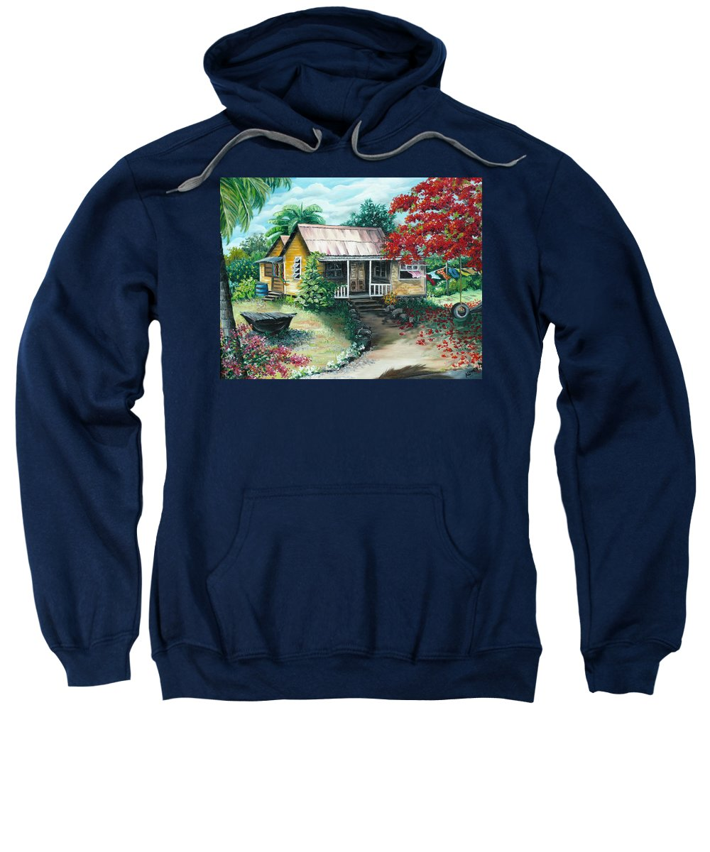 Landscape Painting Caribbean Painting Tropical Painting Island House Painting Poinciana Flamboyant Tree Painting Trinidad And Tobago Painting Sweatshirt featuring the painting Trinidad Life by Karin Dawn Kelshall- Best
