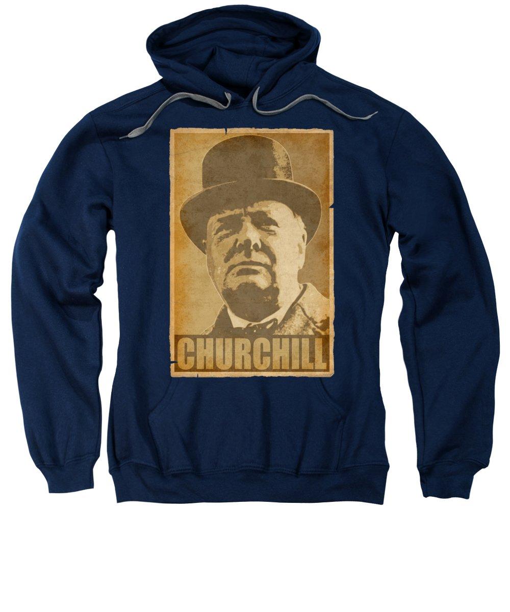 Winston Sweatshirt featuring the digital art Winston Churchill Hope by Filip Schpindel