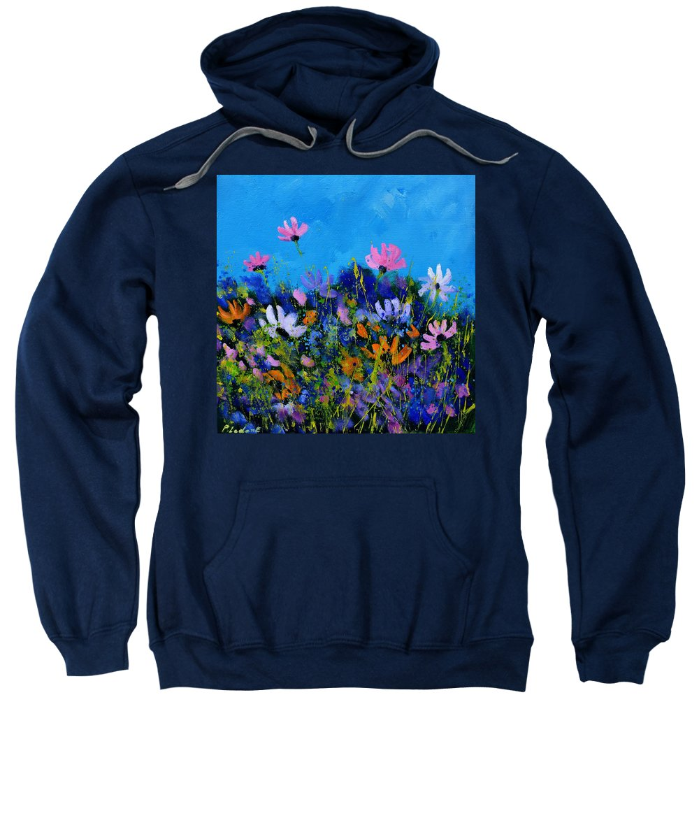 Flowers Sweatshirt featuring the painting A few cosmos flowers by Pol Ledent