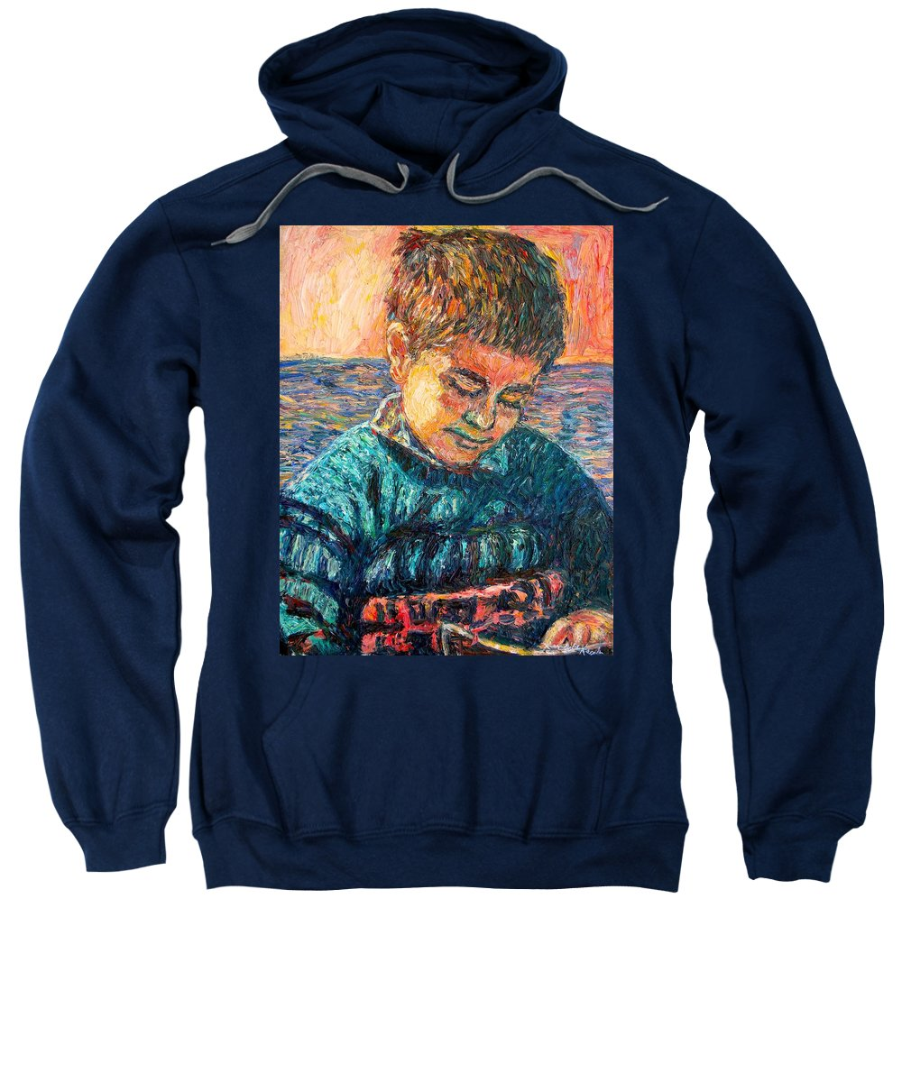 Portrait Sweatshirt featuring the painting Alan Reading by Kendall Kessler