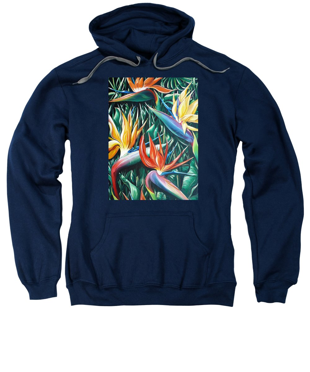 Caribbean Painting Bird Of Paradiseppainting Lily Painting Tropical Musa Painting  . Strelitzer Painting Caribbean Flora Paintingl Flower Red Yellow Painting Greeting Card Painting Sweatshirt featuring the painting Birds Of Paradise Sold  by Karin Dawn Kelshall- Best