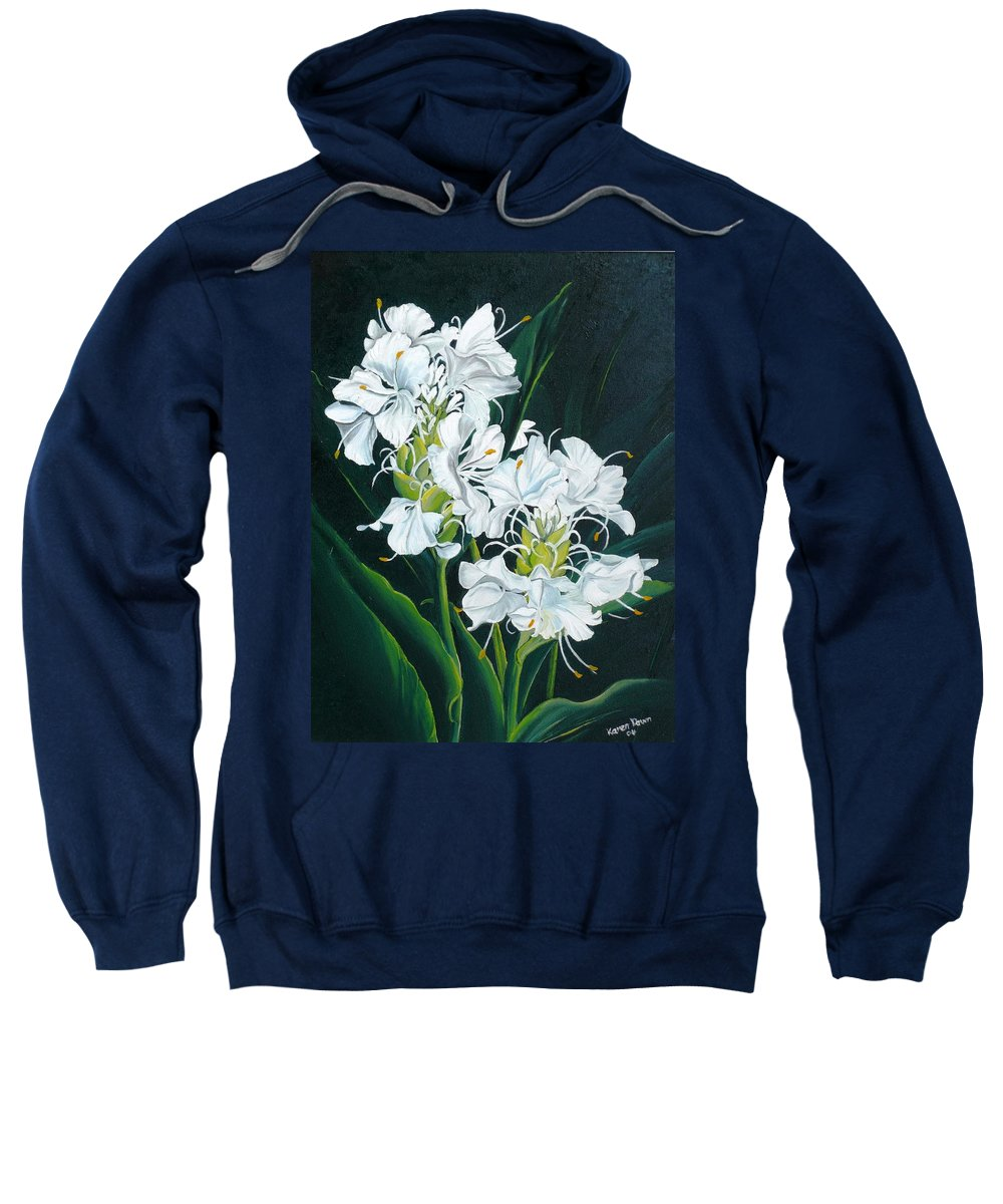 Caribbean Painting Butterfly Ginger Painting Floral Painting Botanical Painting Flower Painting Water Ginger Painting Or Water Ginger Tropical Lily Painting Original Oil Painting Trinidad And  Tobago Painting Tropical Painting Lily Painting White Flower Painting Sweatshirt featuring the painting Butterfly Ginger by Karin Dawn Kelshall- Best