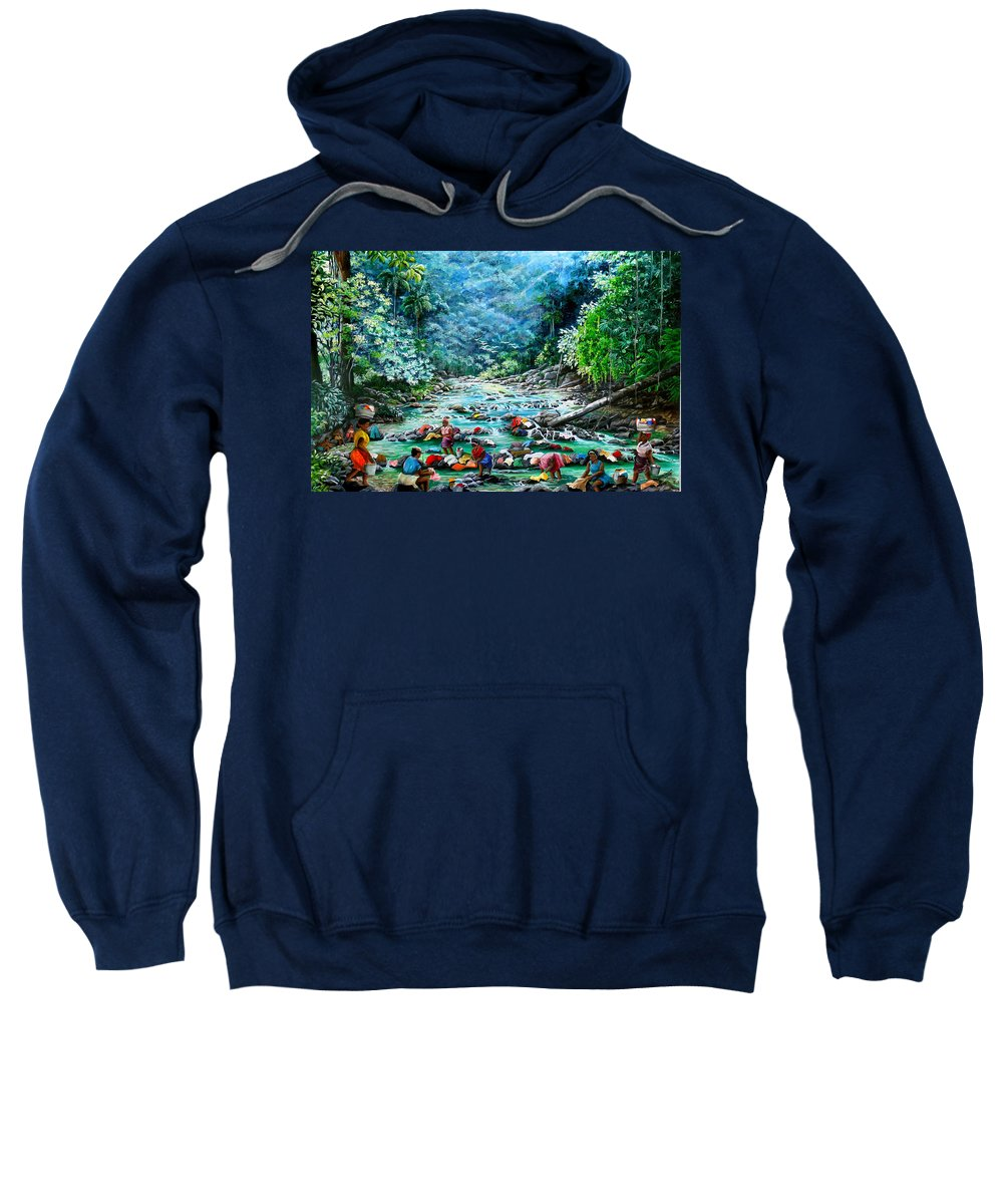 Land Scape Painting River Painting Mountain Painting Rain Forest Painting Washerwomen Painting Laundry Painting Caribbean Painting Tropical Painting Village Washer Women At A Mountain River In Trinidad And Tobago Sweatshirt featuring the painting Caribbean Wash Day by Karin Dawn Kelshall- Best