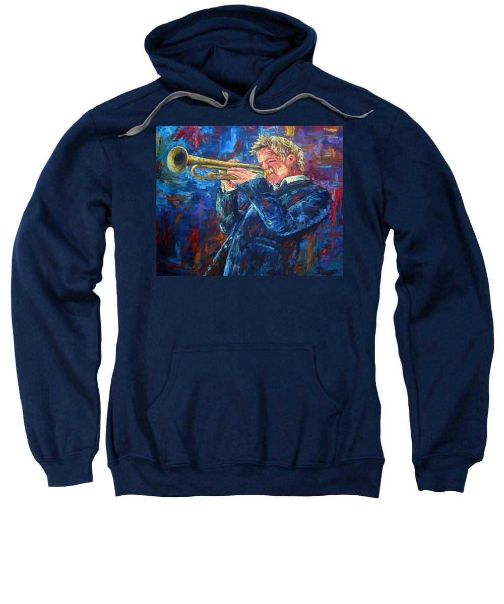 Jazz Sweatshirt featuring the painting Chris Botti by David G Paul