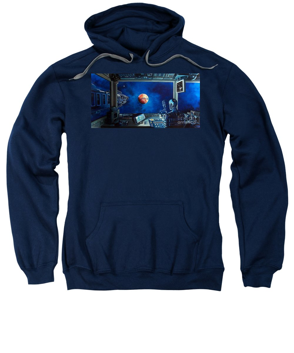 Fantasy Sweatshirt featuring the painting Crying Robot by Murphy Elliott