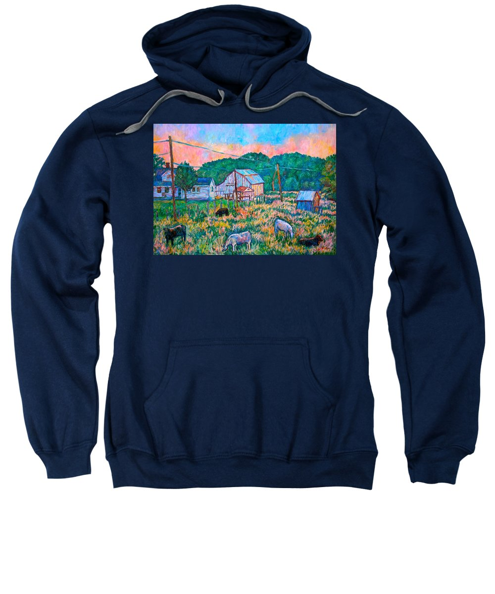 Landscape Sweatshirt featuring the painting Farm Near Fancy Gap by Kendall Kessler