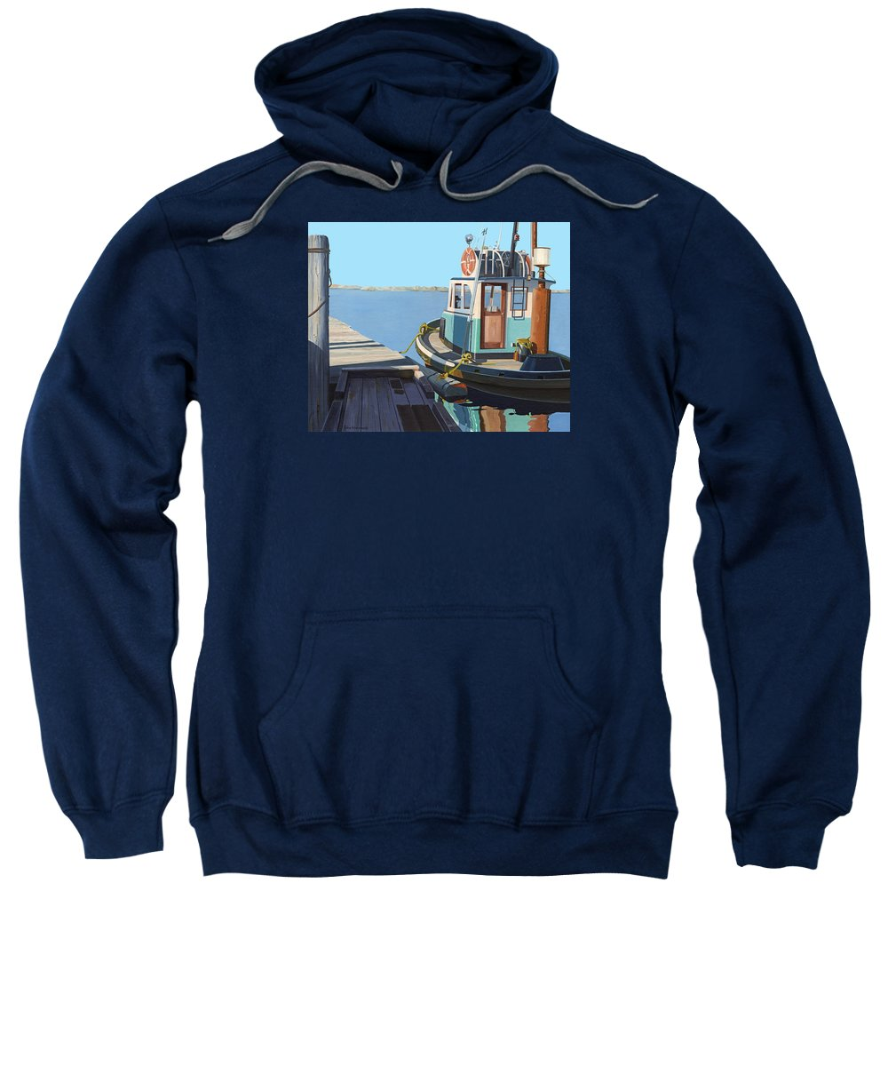 Tug Sweatshirt featuring the painting Fraser River tug by Gary Giacomelli