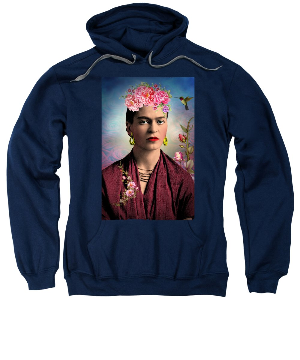 Frida Kahlo Sweatshirt featuring the digital art Frida Kahlo 2 by Mark Ashkenazi