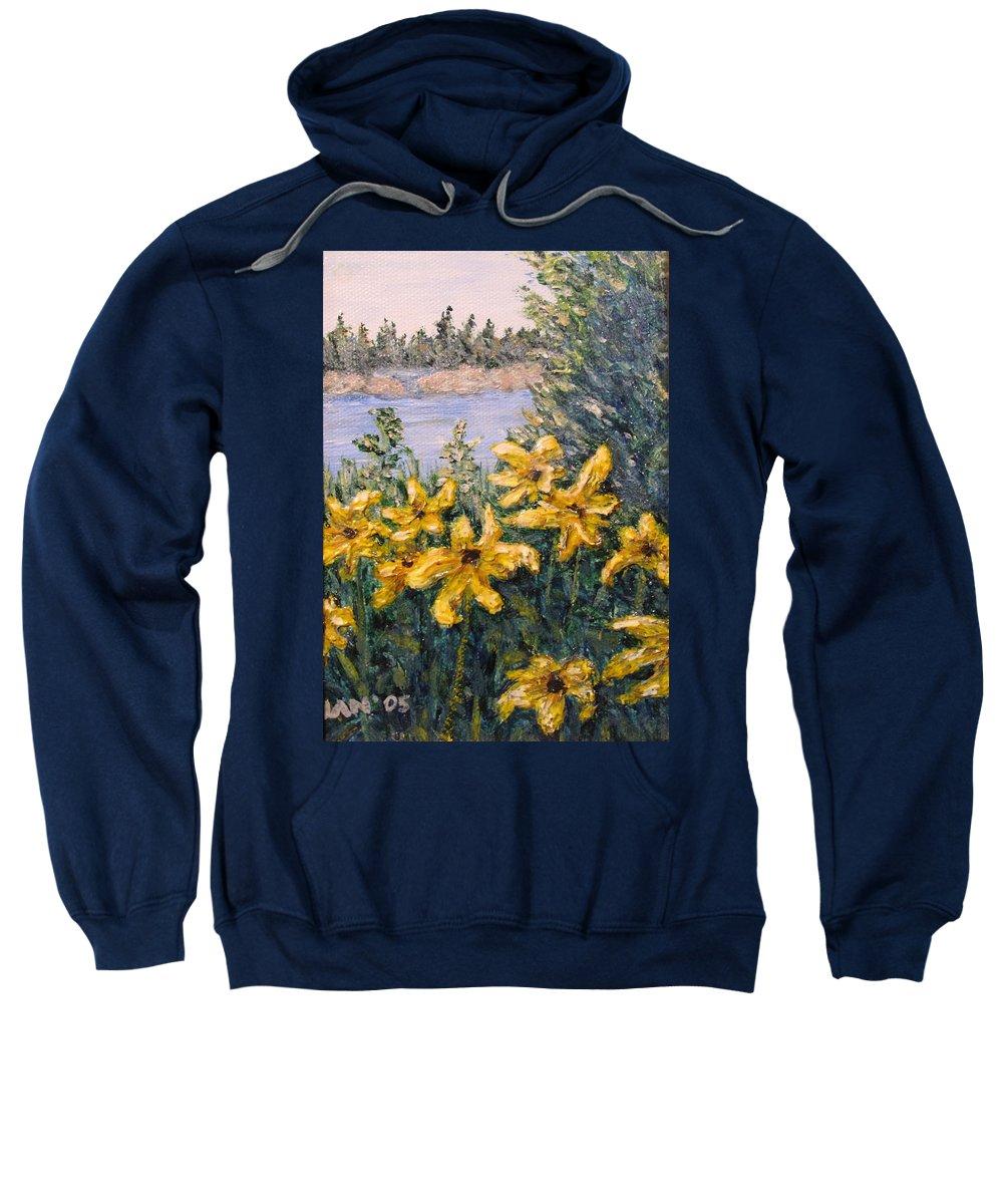 Georgian Bay Sweatshirt featuring the painting Georgian Bay Flowers by Ian MacDonald