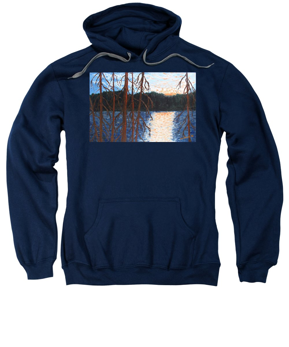 Setting Sun Sweatshirt featuring the painting Georgian Bay Ghosts by Ian MacDonald
