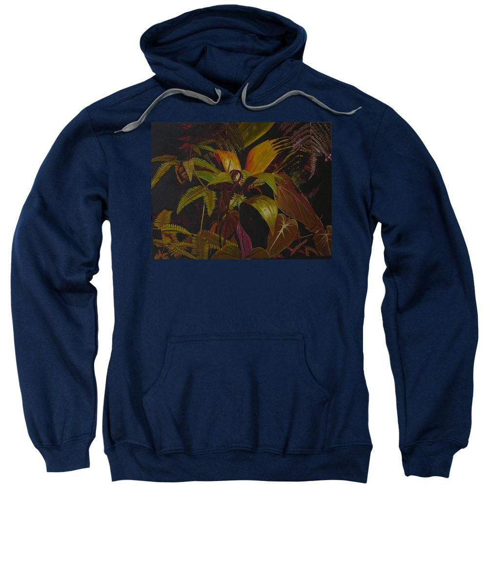 Plant Sweatshirt featuring the painting Midnight in the garden by Thu Nguyen