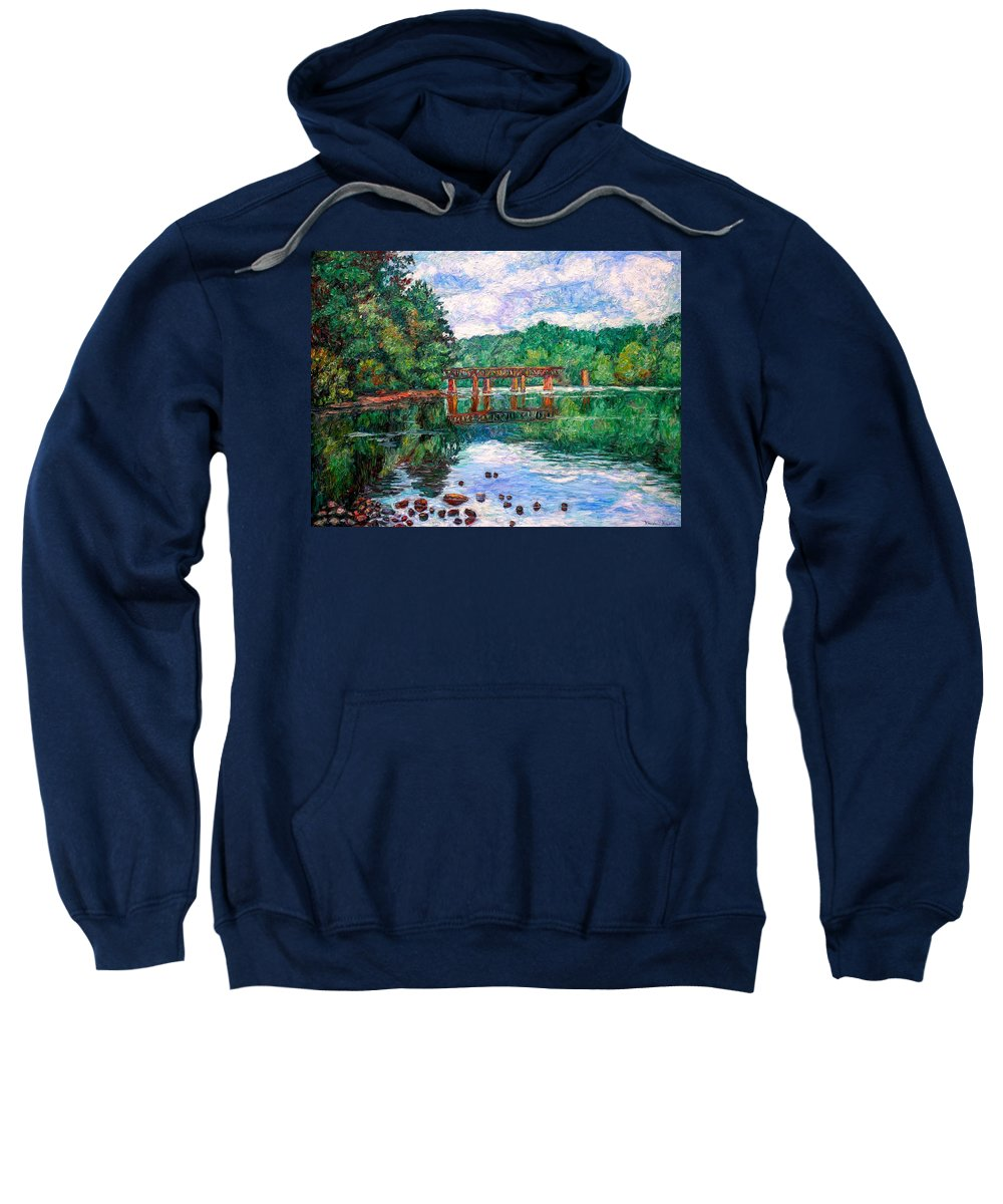 Landscape Sweatshirt featuring the painting New River Trestle by Kendall Kessler