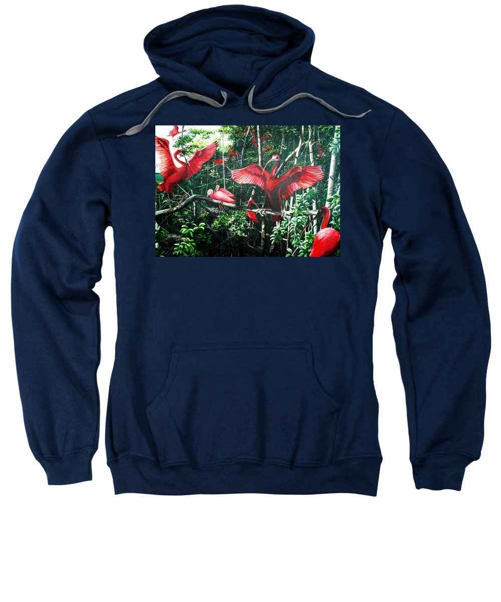 Caribbean Painting Scarlet Ibis Painting Bird Painting Coming Home To Roost Painting The Caroni Swamp In Trinidad And Tobago Greeting Card Painting Painting Tropical Painting Sweatshirt featuring the painting Scarlet Ibis by Karin Dawn Kelshall- Best
