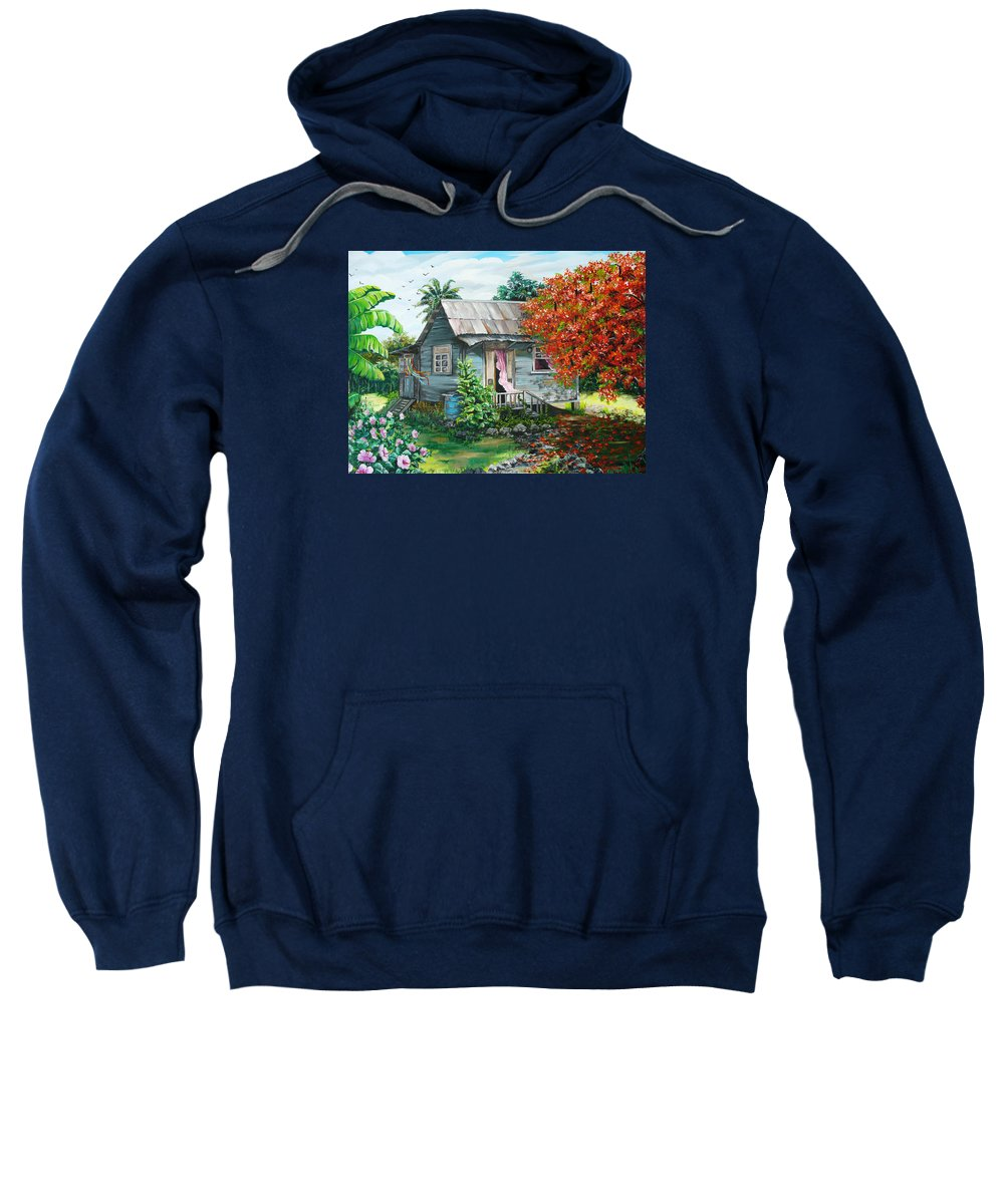 Caribbean Painting Original Painting Trinidad And Tobago ..house Painting Flamboyant Tree Painting Red Blossoms Painting Floral Painting Tree Painting Tropical Painting Sweatshirt featuring the painting Sweet Tobago Life. 2 by Karin Dawn Kelshall- Best