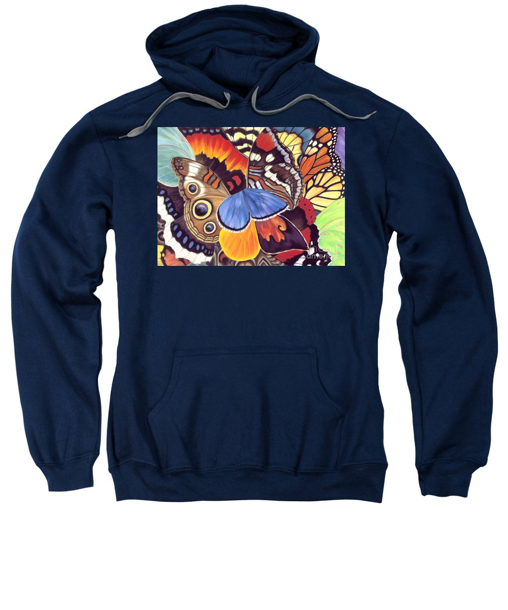 Butterflies Sweatshirt featuring the painting Wings Of California by Lucy Arnold