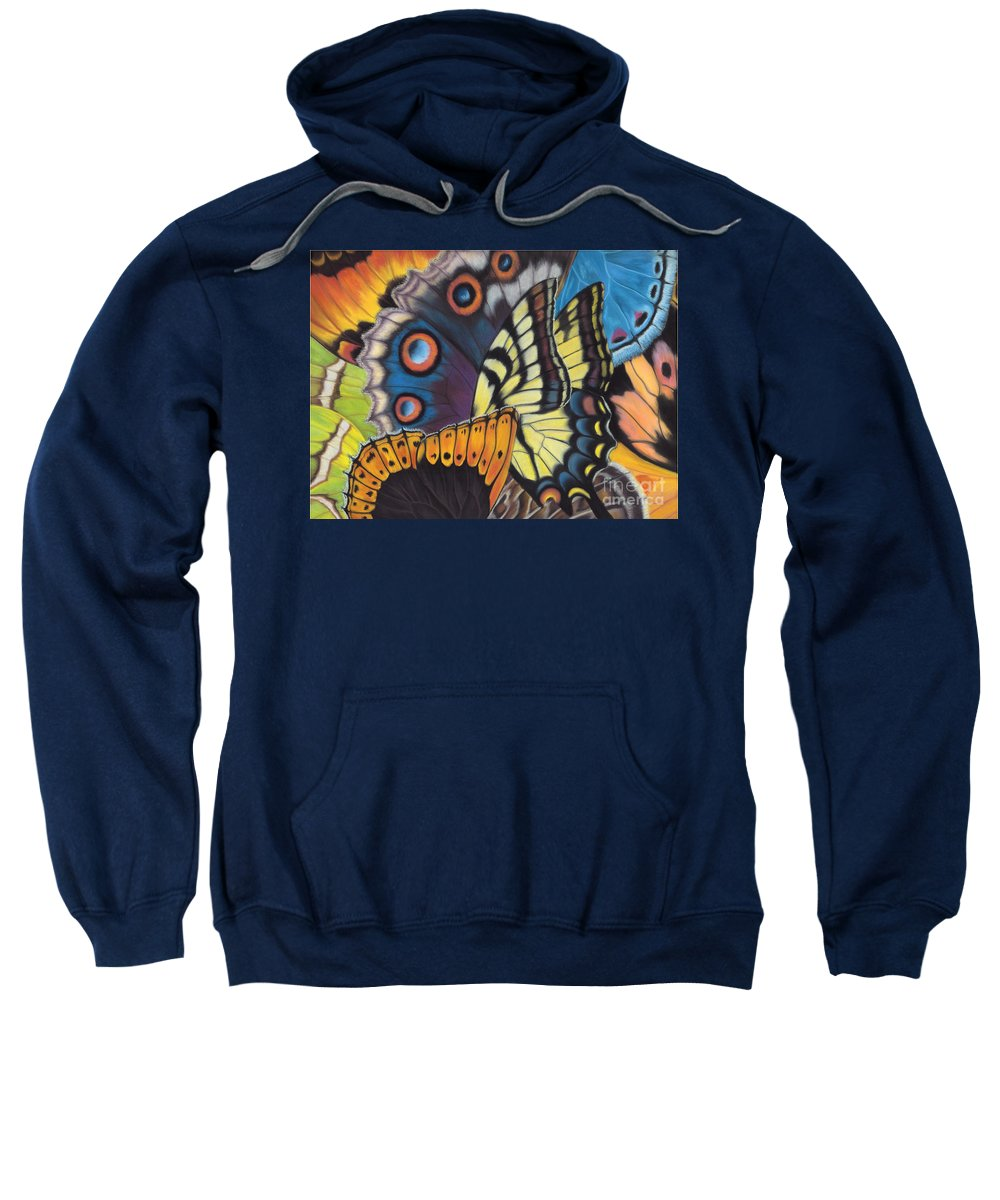 Butterflies Sweatshirt featuring the painting Wings of North Amerca by Lucy Arnold