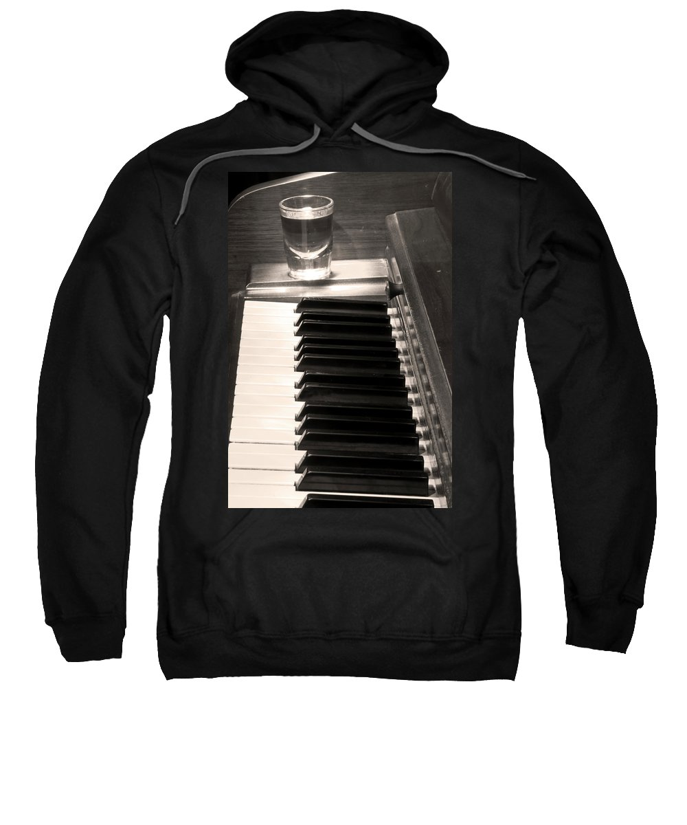 Piano Sweatshirt featuring the photograph A Shot Of Bourbon Whiskey And The Bw Piano Ivory Keys In Sepia by James BO Insogna