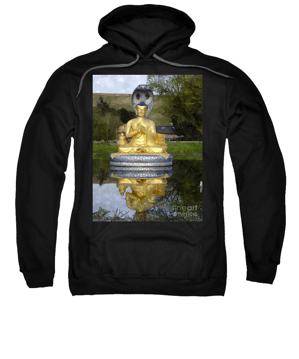 Worshipping Buddha Sweatshirt featuring the painting Buddha 25 by Jeelan Clark