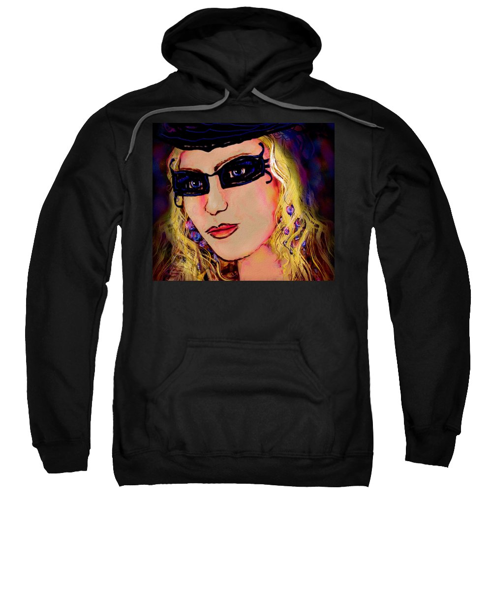 Portrait Sweatshirt featuring the mixed media Casablanca Girl by Natalie Holland