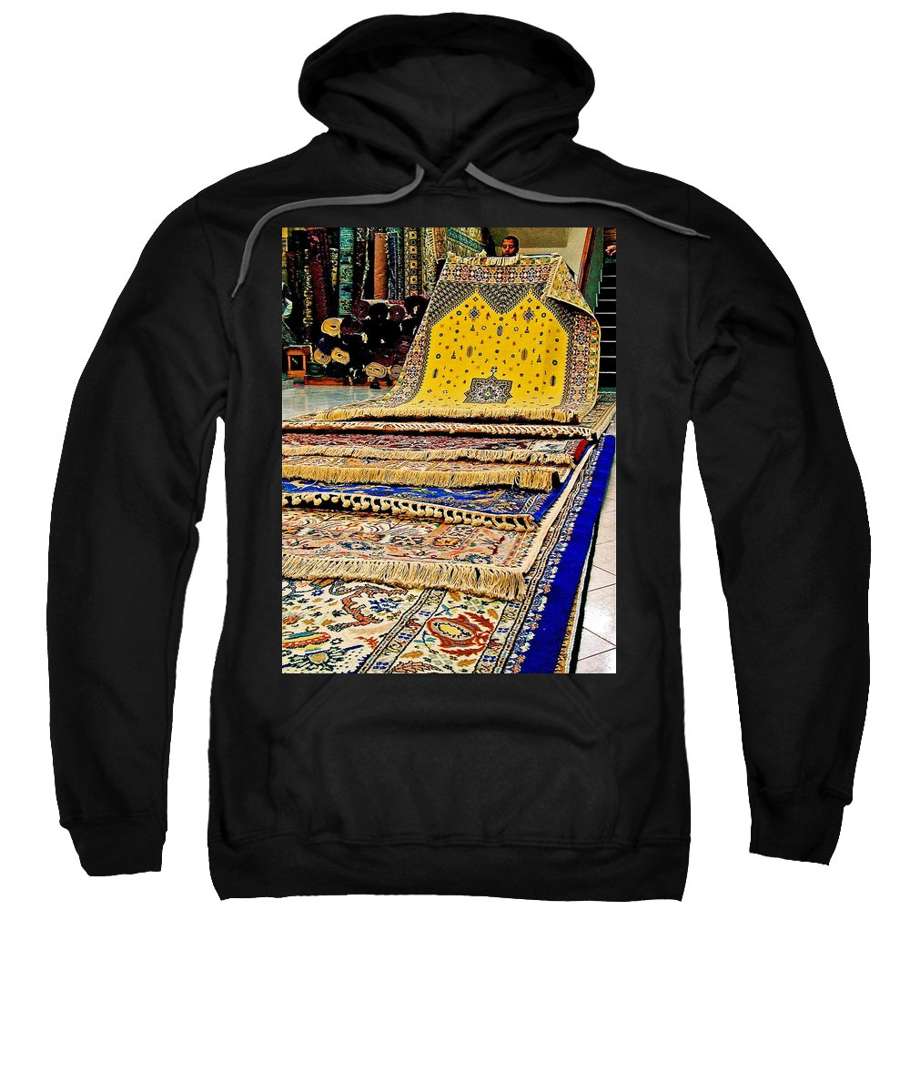 Gorgeous Berber Rugs In Tangier In Tangiers Sweatshirt featuring the photograph Gorgeous Berber Rugs In Tangiers-morocco by Ruth Hager
