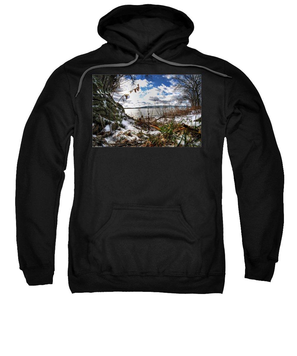 Sweatshirt featuring the photograph 009 Grand Island Bridge Series by Michael Frank Jr