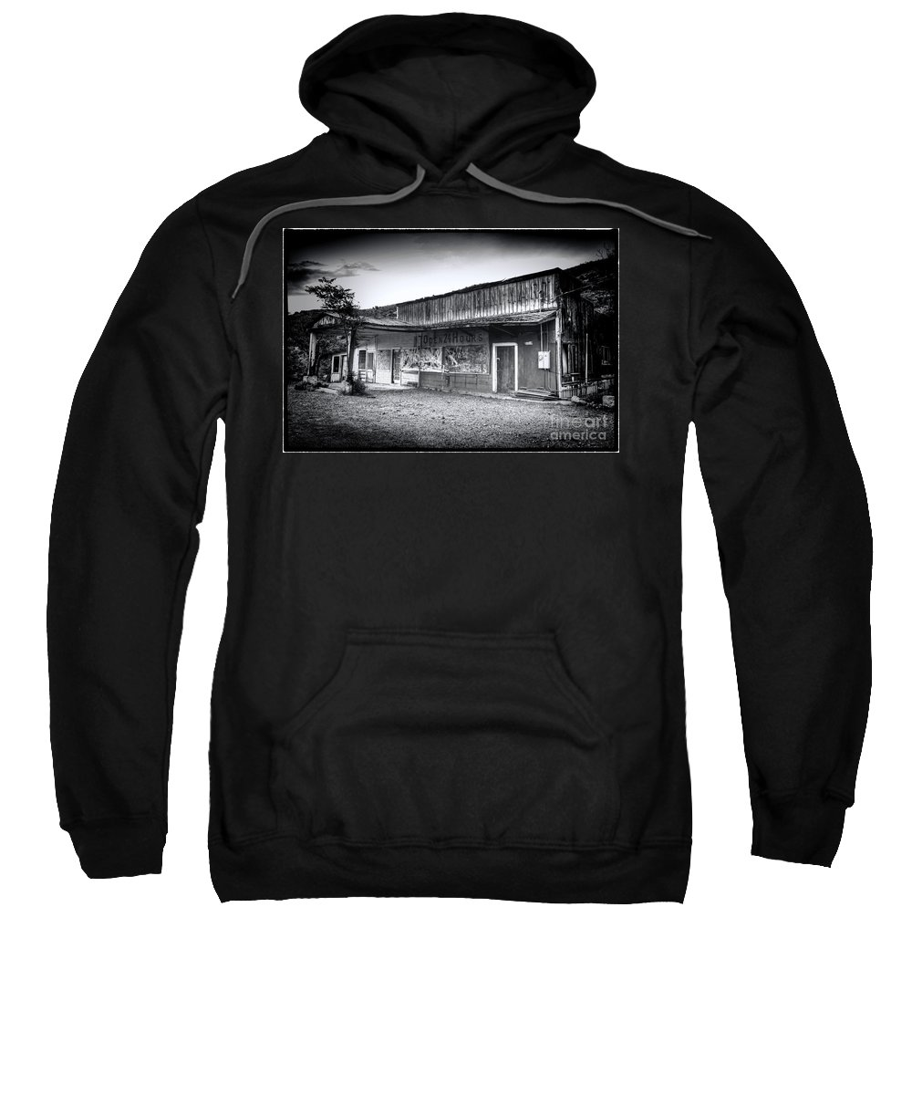 Jerome Sweatshirt featuring the photograph 0706 Jerome Ghost Town Black And White by Steve Sturgill