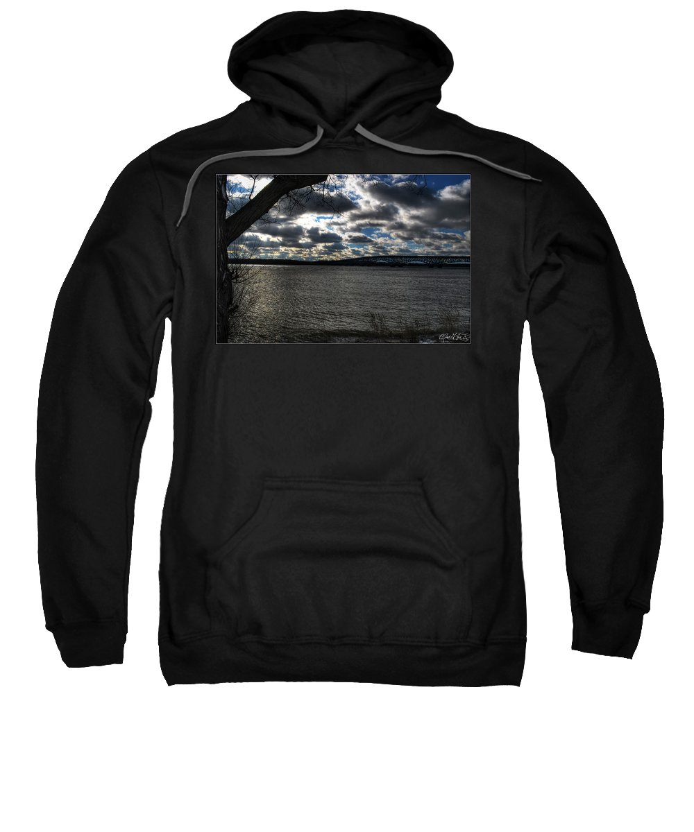 Sweatshirt featuring the photograph 001 Grand Island Bridge Series by Michael Frank Jr