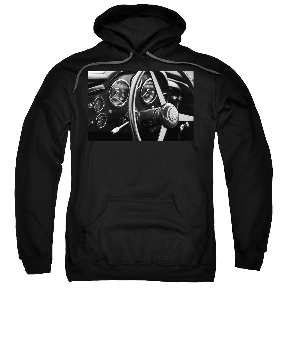 1960 Aston Martin Db4 Gt Coupe' Steering Wheel Emblem Sweatshirt featuring the photograph 1960 Aston Martin Db4 Gt Coupe' Steering Wheel Emblem by Jill Reger